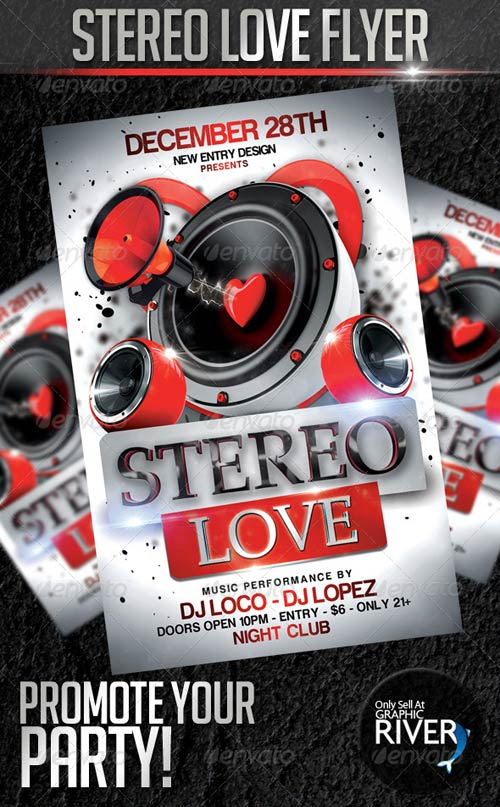 GraphicRiver Stereo Love Flyer Template