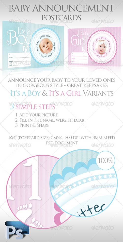 GraphicRiver Baby Announcement Postcards