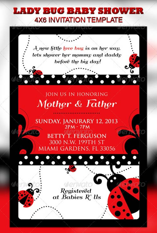 GraphicRiver Lady Bug Baby Shower Invitation & Raffle Ticket