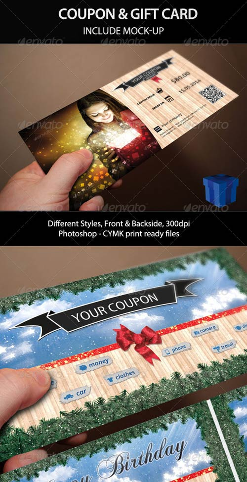 GraphicRiver Giftable Coupon and Gift Card with Mock-Up