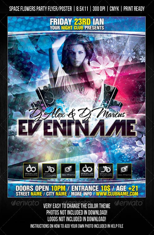 GraphicRiver Night Club Space Flowers Party Flyer/Poster