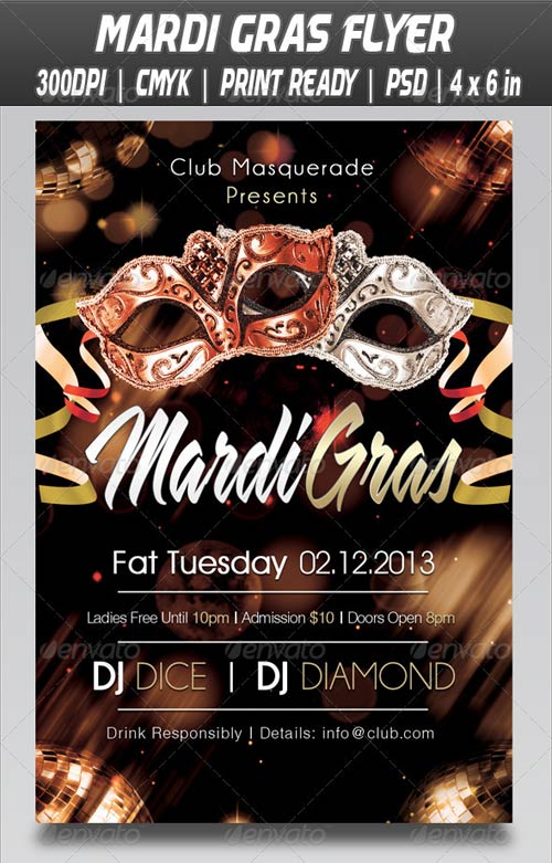 GraphicRiver Fat Tuesday Mardi Gras Flyer