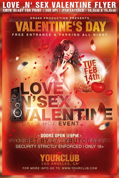 GraphicRiver Love 'n' Sex Valentine Day's Party Flyer