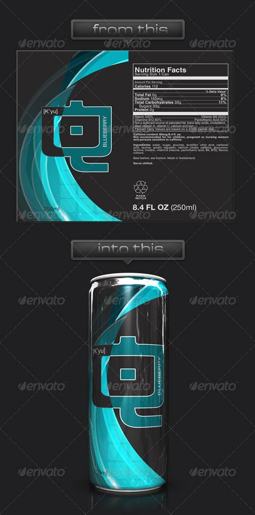 GraphicRiver 3D Energy Drink Soda Can Mockup