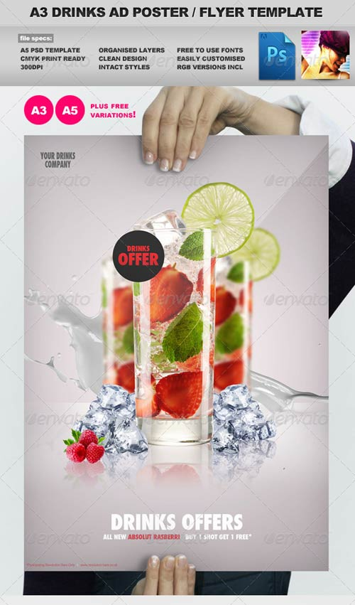 GraphicRiver A3 Drinks Promotion Advertisement Poster Template