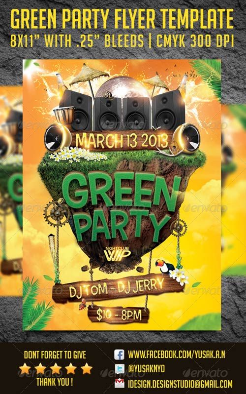 GraphicRiver Green Party Flyer Template