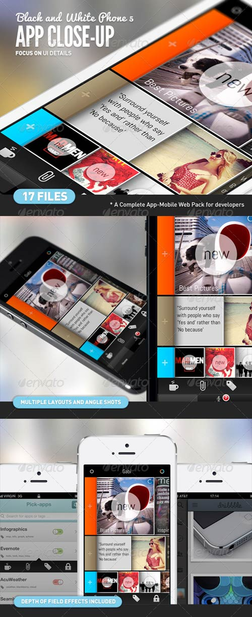 GraphicRiver App UI Close-Up White Phone 5 Mock-Up
