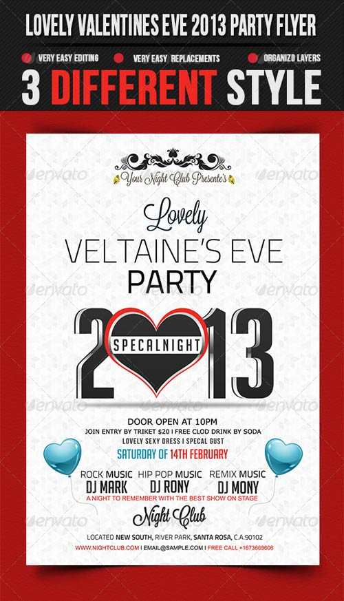 GraphicRiver Lovely Valentines Eve 2013 Party Flyer Template