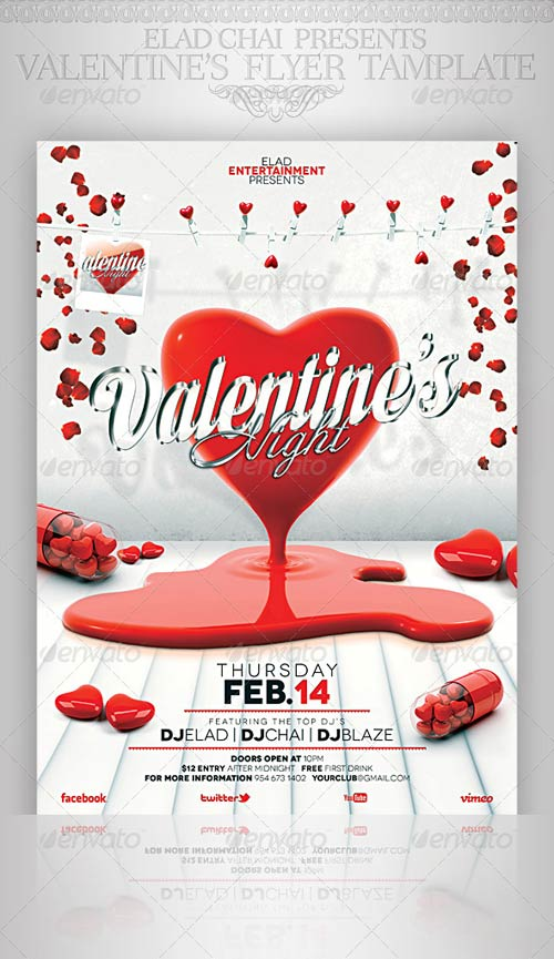 GraphicRiver Valentine's Day A4 Flyer Poster Template