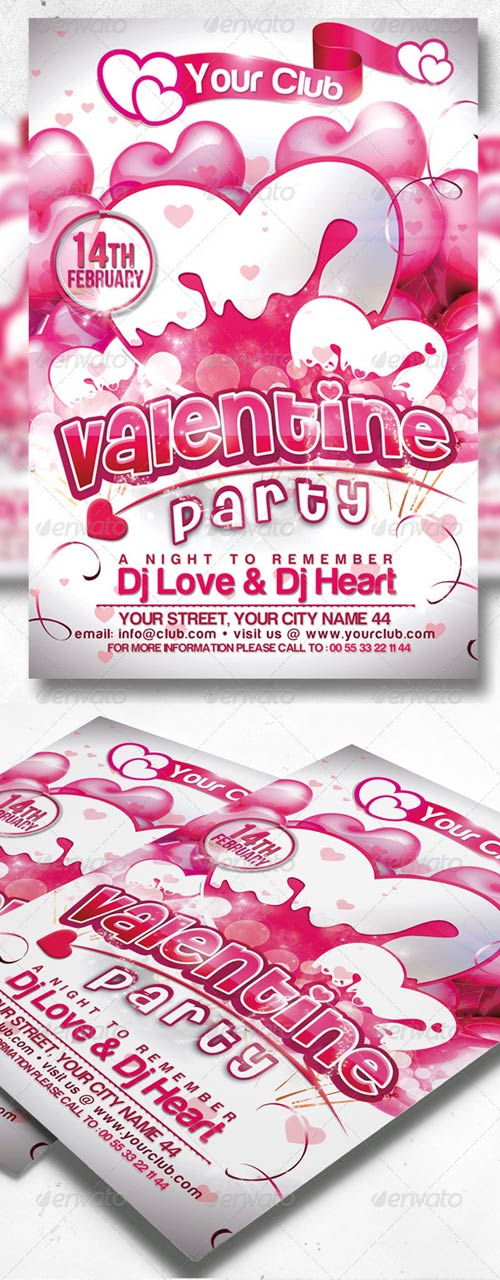 GraphicRiver Valentine Party Flyer Template 3814430