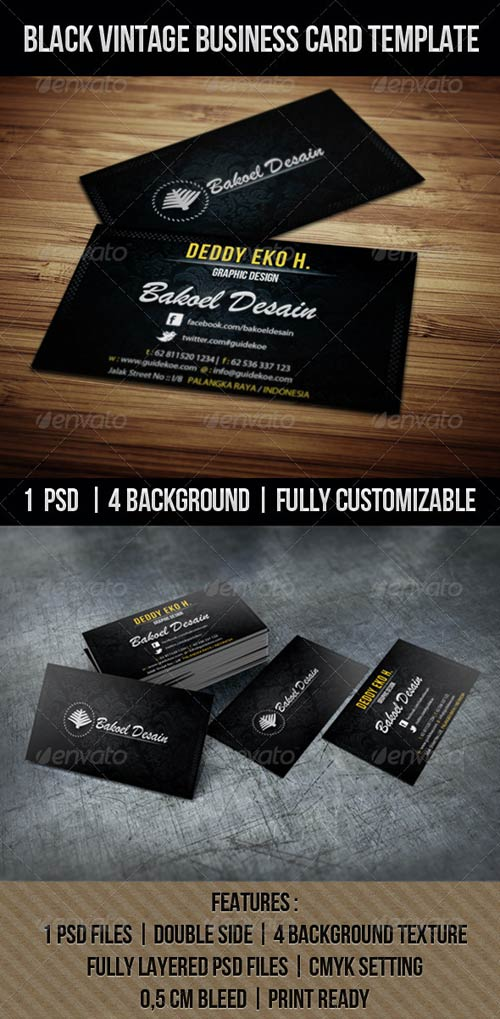 GraphicRiver BLACK VINTAGE BUSINESS CARD