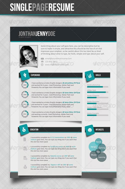 GraphicRiver Clean Single page Resume