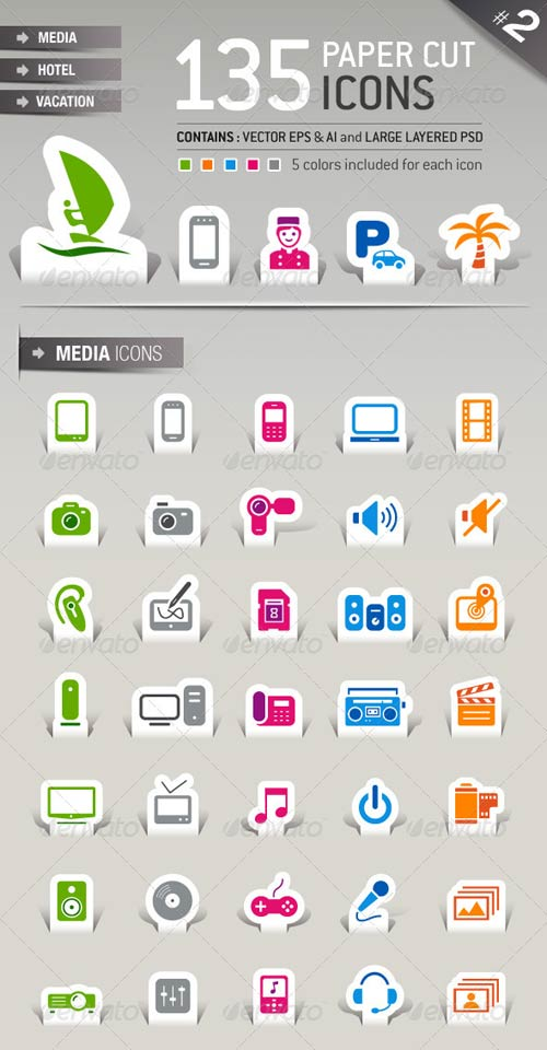 GraphicRiver 135 Papercut Icons