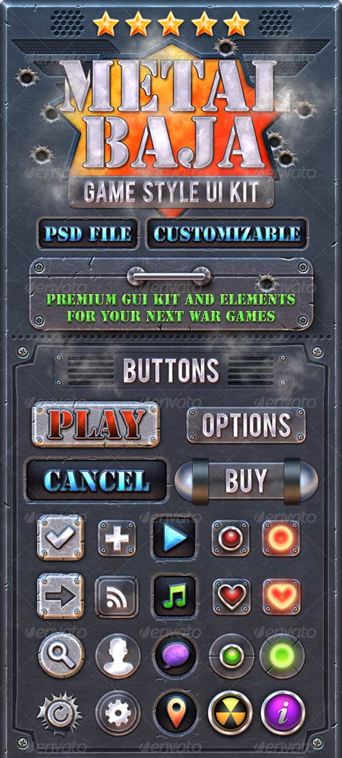 GraphicRiver Metal Baja: Game GUI Kit