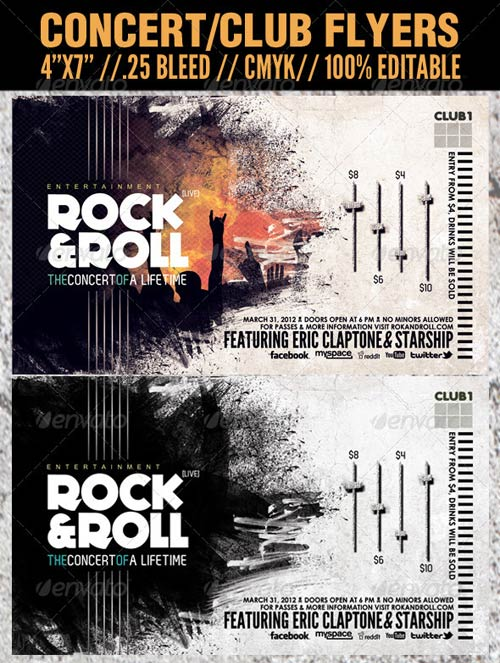 GraphicRiver Concert Club Flyer Template - Rock and Roll