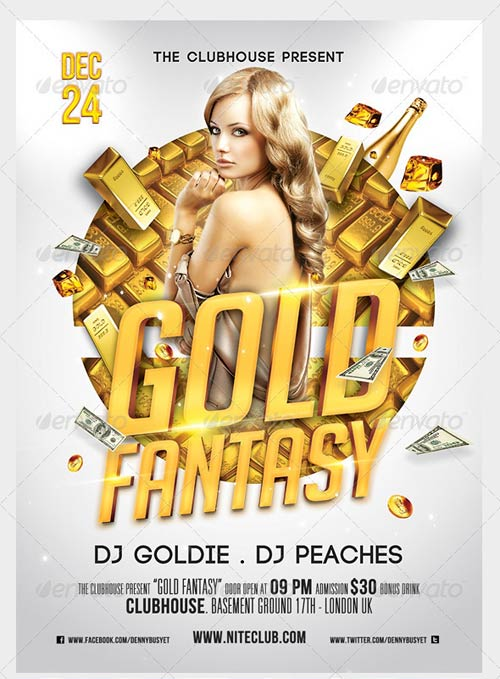 GraphicRiver Gold Fantasy Nightclub Psd Flyer Template