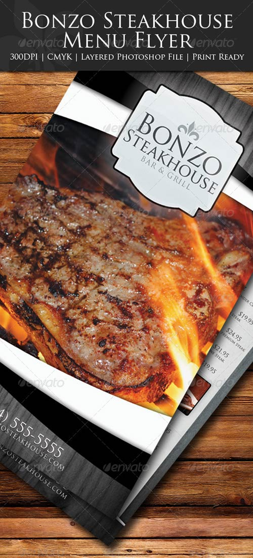 GraphicRiver Bonzo Steakhouse Menu Flyer
