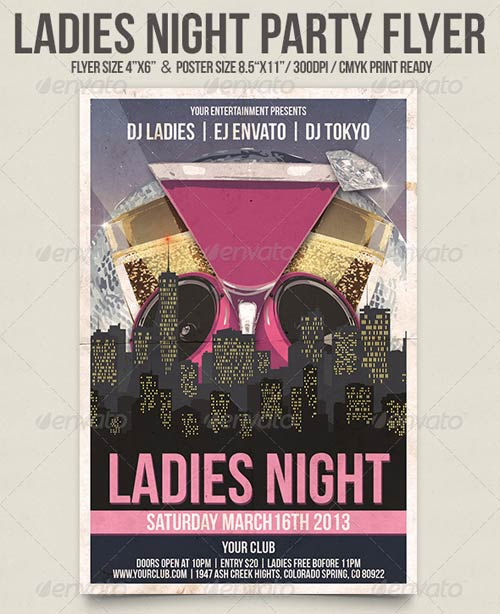 GraphicRiver Ladies Night Party Flyer 3930803