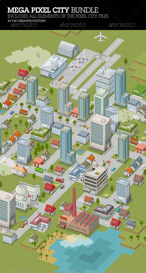 GraphicRiver Mega Pixel City Bundle
