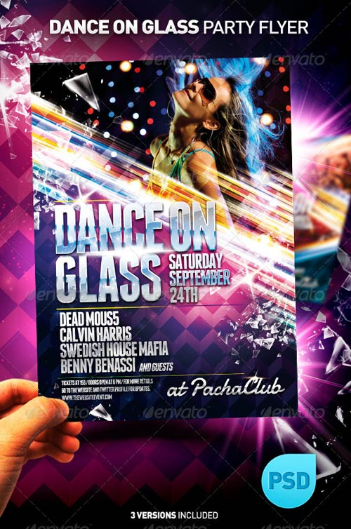 GraphicRiver NightClub Party Flyer Template | Dance on Glass