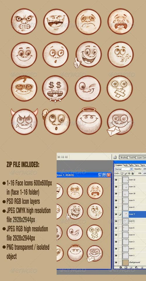 GraphicRiver Face Emotions - Emoticons Set