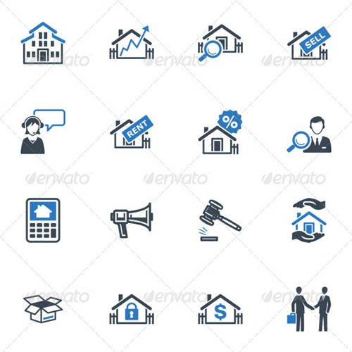 GraphicRiver Real Estate Icons - Blue Series