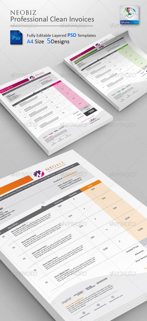 GraphicRiver NeoBiz Clean Invoice PSD Templates