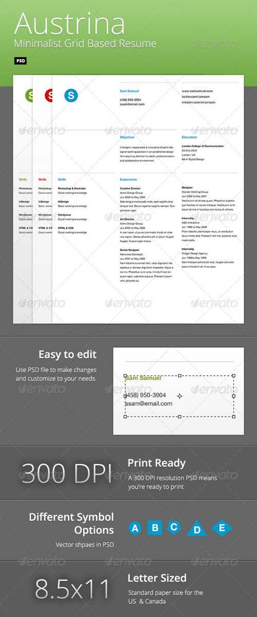 GraphicRiver Austrina - Minimalist Grid Based Resume