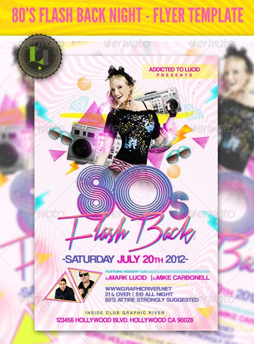 GraphicRiver 80's Flash Back Night - Flyer Template