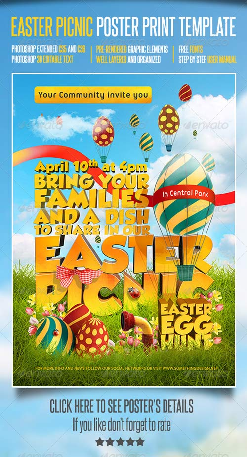 GraphicRiver Easter Picnic Poster Print Template