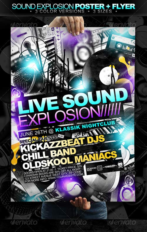 GraphicRiver Sound Explosion Poster + Flyer // 3 Color Versions