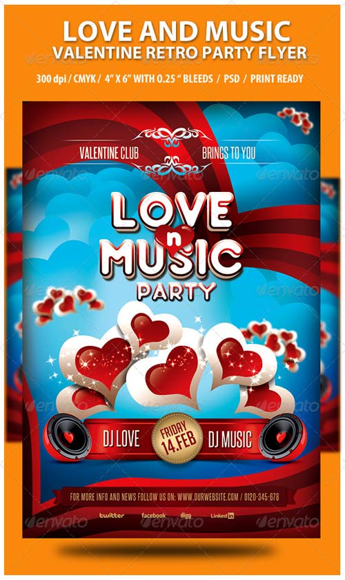 GraphicRiver Love and Music Valentine Retro Party Flyer