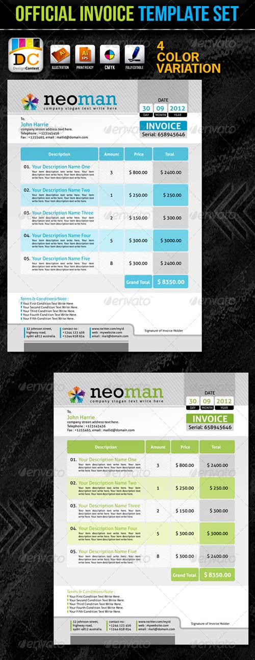 GraphicRiver NeoMan_Official Invoice Template Set