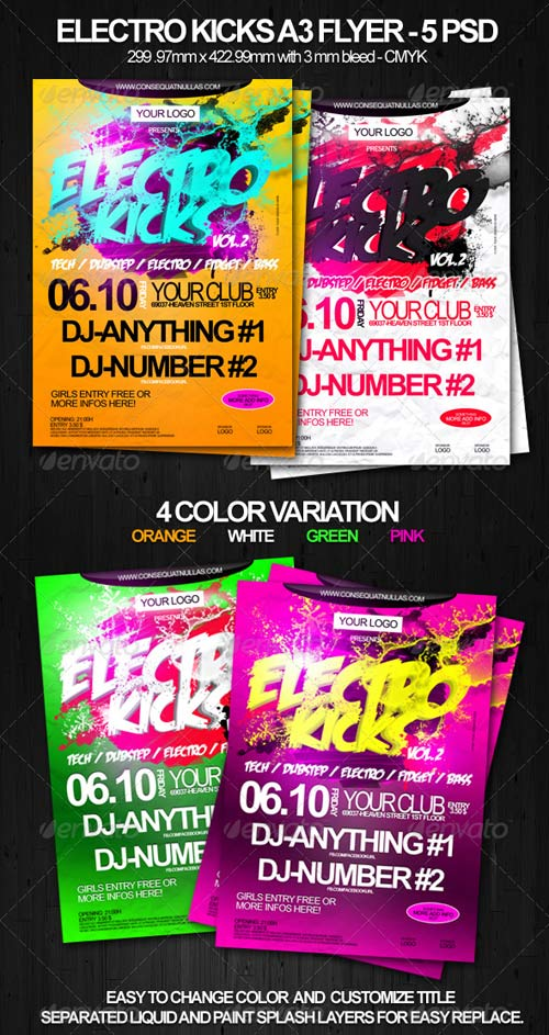 GraphicRiver Electro Kicks A3 Party Flyer