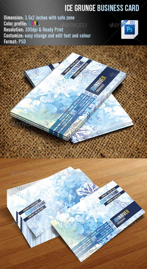 GraphicRiver Ice Grunge Business Card