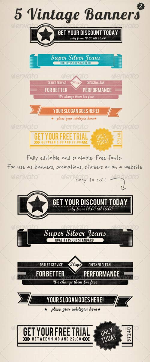 GraphicRiver 5 Vintage Retro Banners Set 2