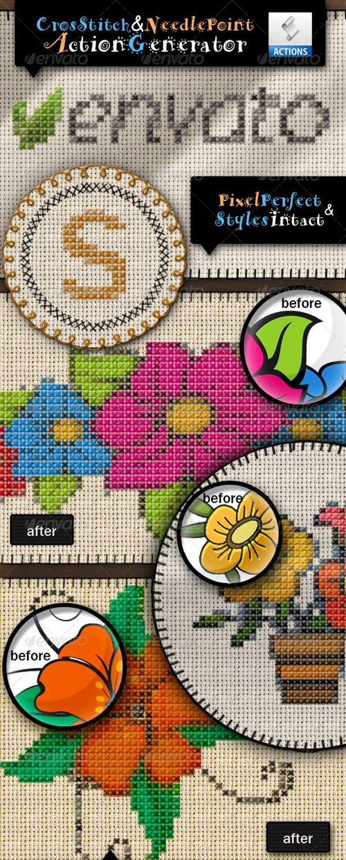 GraphicRiver Cross Stitch and Needlepoint Action