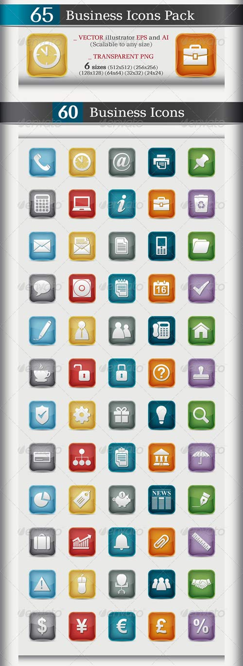 GraphicRiver 65 Business Icons Pack