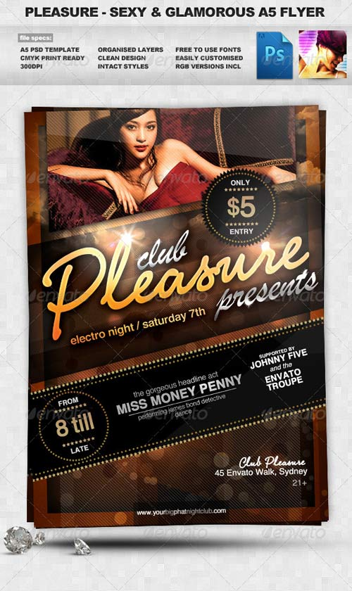 GraphicRiver Pleasure - Sexy & Glamorous PSD A5 Flyer Template
