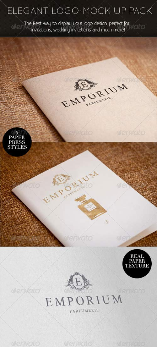 GraphicRiver Elegant Paper-press Logo Presentation Mock-up