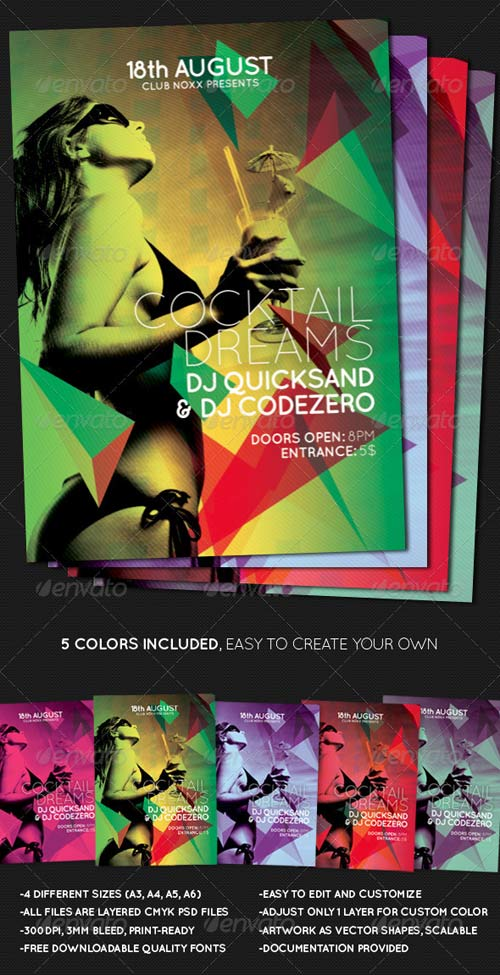 GraphicRiver Cocktail Dreams Multicolor Flyer + Poster A3 A4 A5