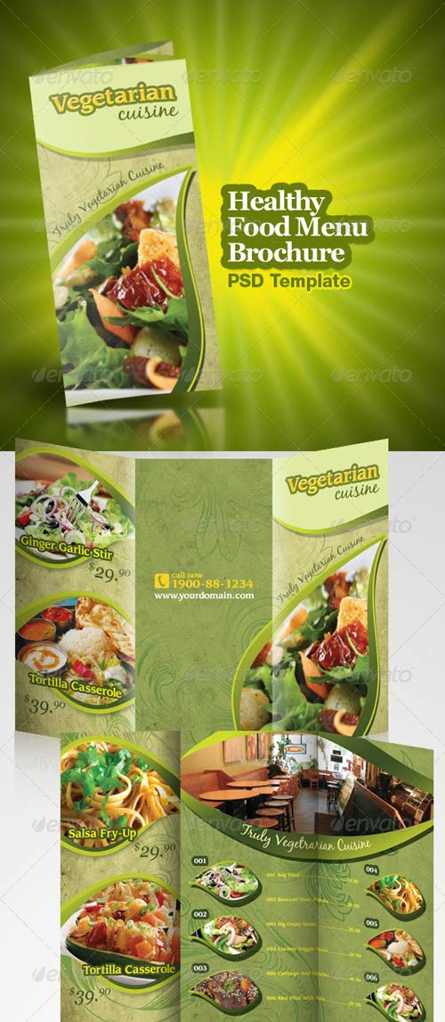 GraphicRiver Healthy Food Menu Brochure Trifold