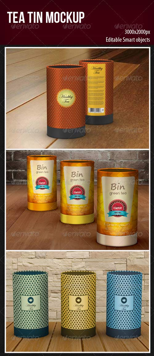 GraphicRiver Tea Tin Mockup