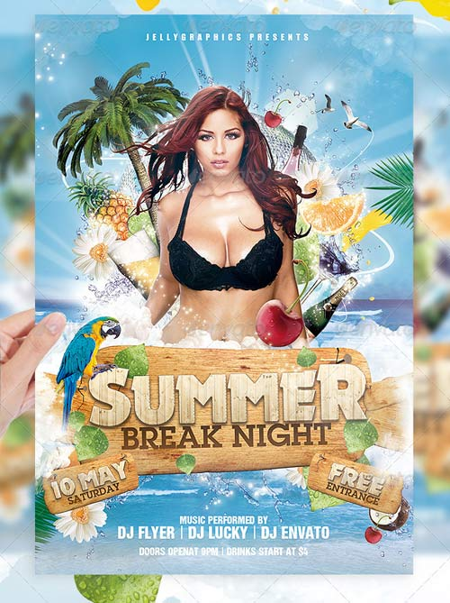 GraphicRiver Tropical Spring Summer Beach Night Flyer Party
