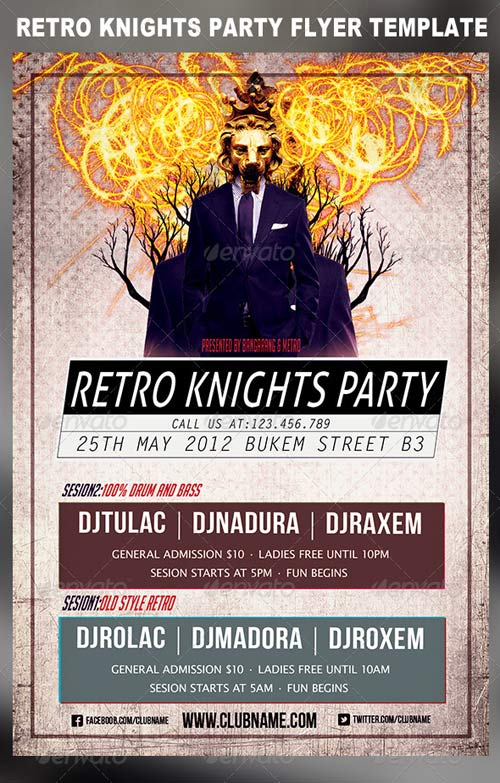 GraphicRiver Retro Knights Party Flyer Template