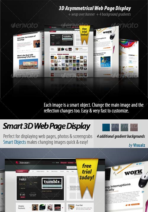 GraphicRiver 3D Asymmetrical Web Page Display