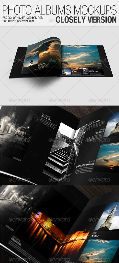 GraphicRiver Photo Albums Mockups - Closely Version