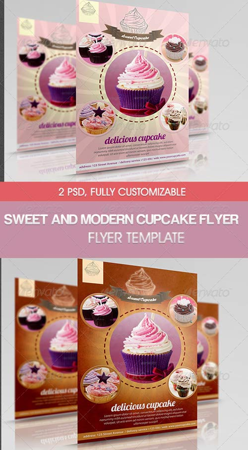 GraphicRiver Sweet and Modern Cupcake Flyer