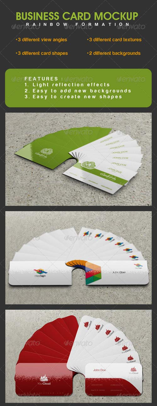 GraphicRiver Business Card Mockup with Rainbow Formation