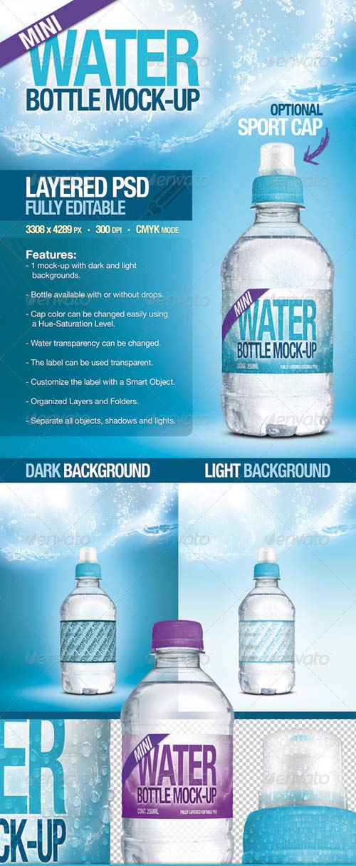 GraphicRiver Mini Fresh Water Bottle Mock-Up